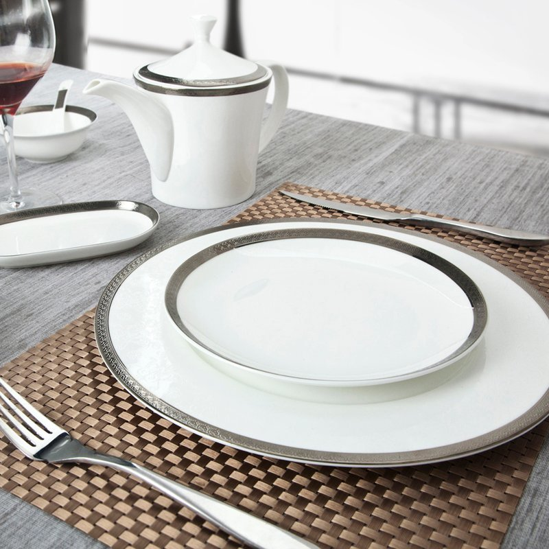 Modern Style White Round Fine Bone china Dinnerware With Silver Grey Rim - SJB-H066 & Professional Fine china Dinnerware \u0026 Fine Porcelain Dinnerware Sets